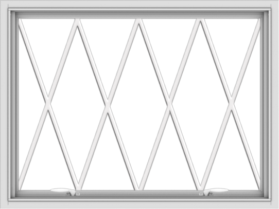 WDMA 40x30 (39.5 x 29.5 inch) White uPVC Vinyl Push out Awning Window without Grids with Diamond Grills