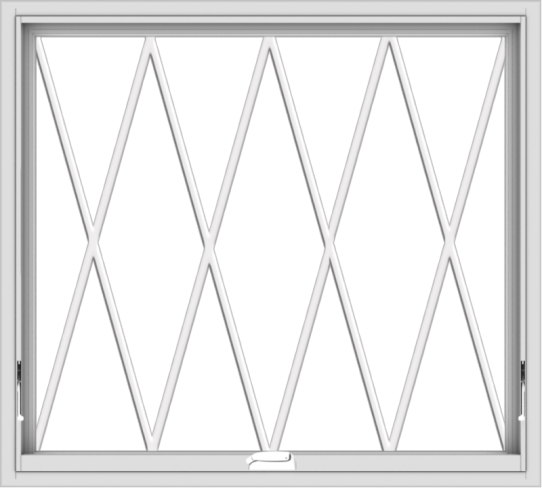 WDMA 40x36 (39.5 x 35.5 inch) White Vinyl uPVC Crank out Awning Window without Grids with Diamond Grills