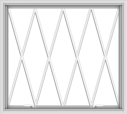 WDMA 40x36 (39.5 x 35.5 inch) White uPVC Vinyl Push out Awning Window without Grids with Diamond Grills