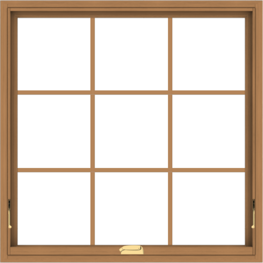 WDMA 40x40 (39.5 x 39.5 inch) Oak Wood Dark Brown Bronze Aluminum Crank out Awning Window with Colonial Grids Interior