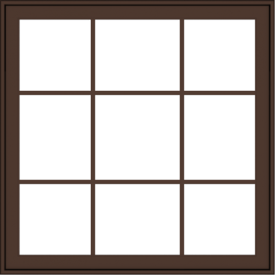 WDMA 40x40 (39.5 x 39.5 inch) Oak Wood Dark Brown Bronze Aluminum Crank out Awning Window with Colonial Grids Exterior