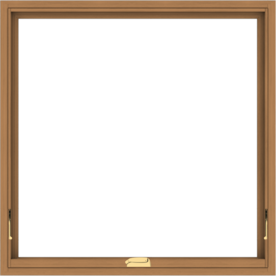 WDMA 40x40 (39.5 x 39.5 inch) Oak Wood Dark Brown Bronze Aluminum Crank out Awning Window without Grids