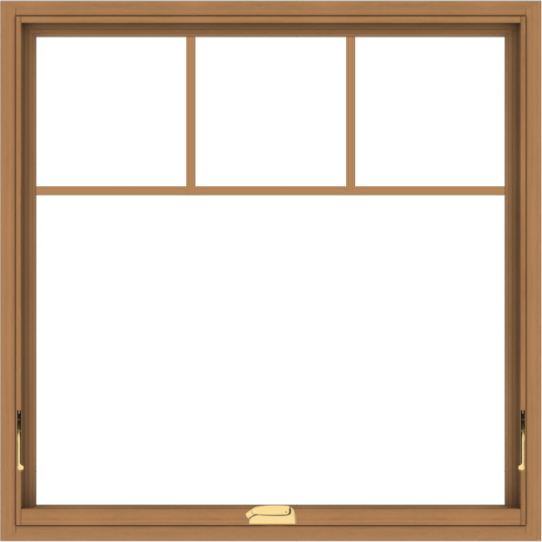 WDMA 40x40 (39.5 x 39.5 inch) Oak Wood Dark Brown Bronze Aluminum Crank out Awning Window with Fractional Grilles