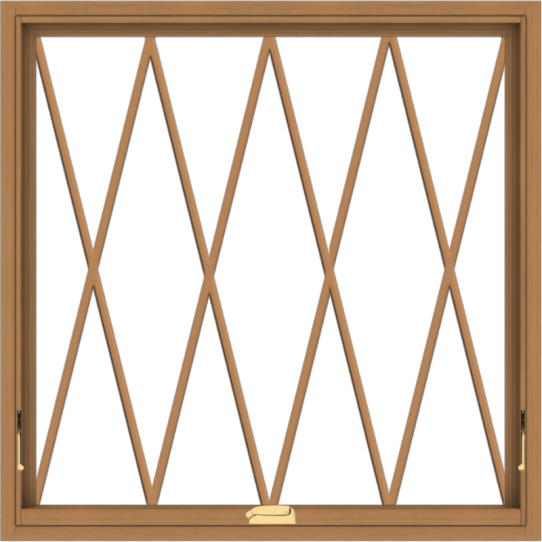 WDMA 40x40 (39.5 x 39.5 inch) Oak Wood Dark Brown Bronze Aluminum Crank out Awning Window without Grids with Diamond Grills