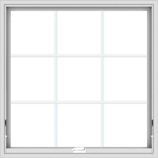 WDMA 40x40 (39.5 x 39.5 inch) White Vinyl uPVC Crank out Awning Window with Colonial Grids Interior