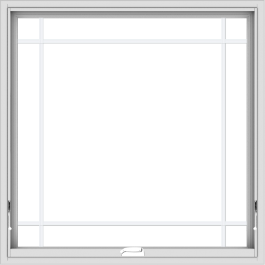 WDMA 40x40 (39.5 x 39.5 inch) White Vinyl uPVC Crank out Awning Window with Prairie Grilles