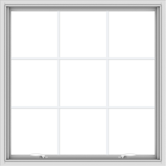 WDMA 40x40 (39.5 x 39.5 inch) White uPVC Vinyl Push out Awning Window with Colonial Grids Interior