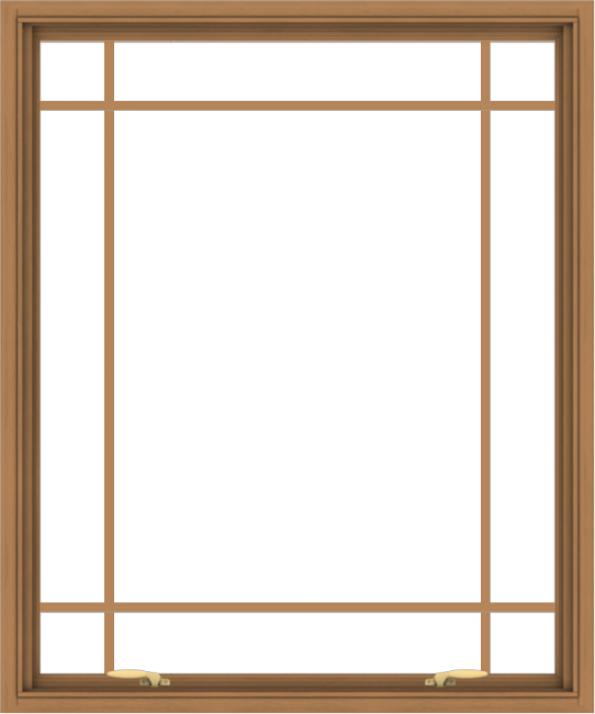 WDMA 40x48 (39.5 x 47.5 inch) Oak Wood Green Aluminum Push out Awning Window with Prairie Grilles
