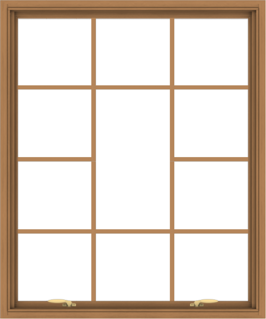 WDMA 40x48 (39.5 x 47.5 inch) Oak Wood Green Aluminum Push out Awning Window without Grids with Victorian Grills