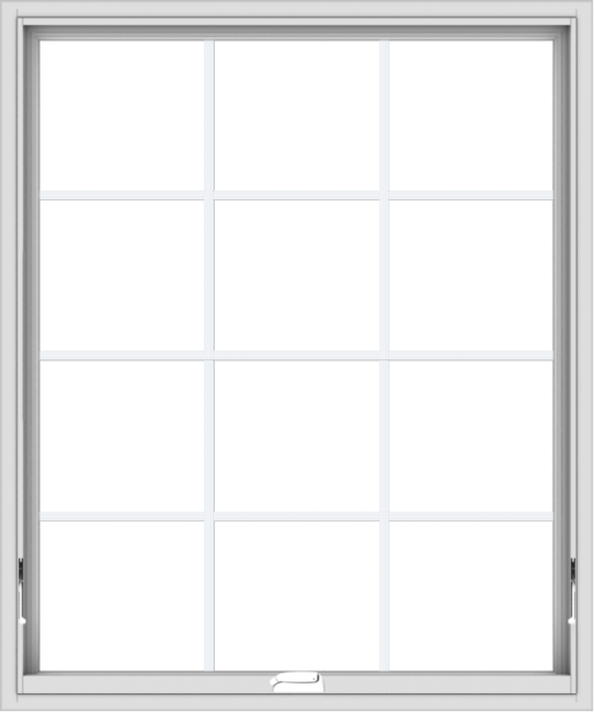 WDMA 40x48 (39.5 x 47.5 inch) White Vinyl uPVC Crank out Awning Window with Colonial Grids Interior