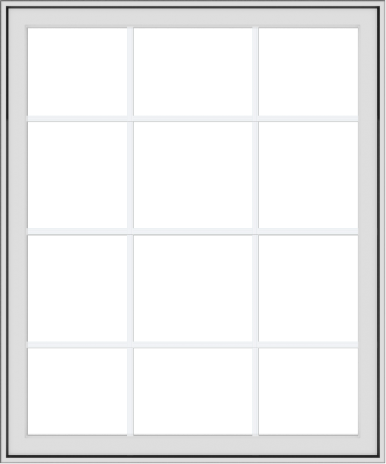 WDMA 40x48 (39.5 x 47.5 inch) White Vinyl uPVC Crank out Awning Window with Colonial Grids Exterior