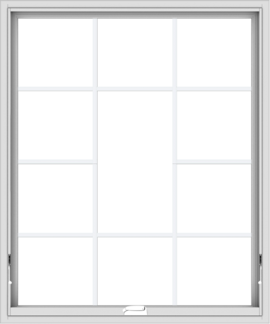 WDMA 40x48 (39.5 x 47.5 inch) White Vinyl uPVC Crank out Awning Window without Grids with Victorian Grills