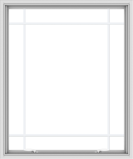 WDMA 40x48 (39.5 x 47.5 inch) White uPVC Vinyl Push out Awning Window with Prairie Grilles