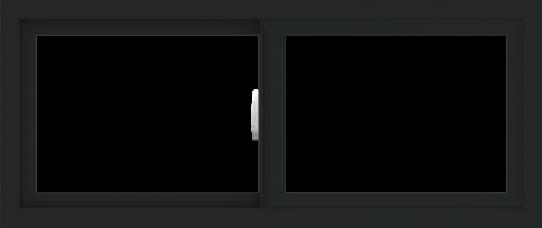 WDMA 42x18 (41.5 x 17.5 inch) Vinyl uPVC Black Slide Window without Grids Interior