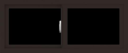 WDMA 42x18 (41.5 x 17.5 inch) Vinyl uPVC Dark Brown Slide Window without Grids Interior