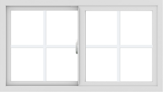 WDMA 42x24 (41.5 x 23.5 inch) Vinyl uPVC White Slide Window with Colonial Grids Exterior