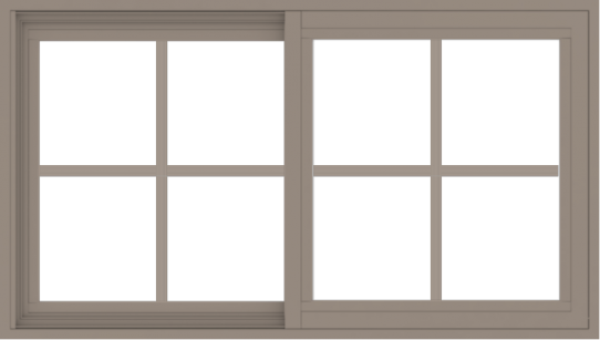 WDMA 42x24 (41.5 x 23.5 inch) Vinyl uPVC Brown Slide Window with Colonial Grids Exterior