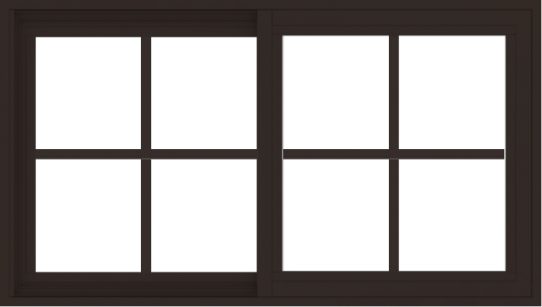 WDMA 42x24 (41.5 x 23.5 inch) Vinyl uPVC Dark Brown Slide Window with Colonial Grids Exterior