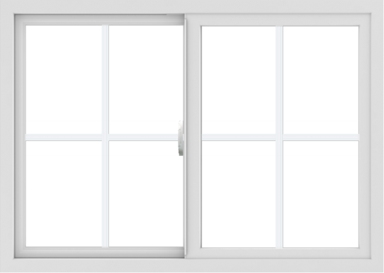 WDMA 42x30 (41.5 x 29.5 inch) Vinyl uPVC White Slide Window with Colonial Grids Exterior
