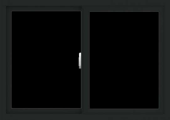 WDMA 42x30 (41.5 x 29.5 inch) Vinyl uPVC Black Slide Window without Grids Interior