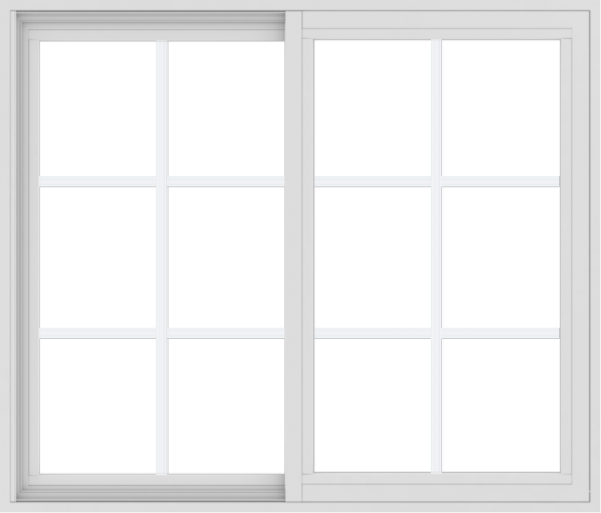 WDMA 42x36 (41.5 x 35.5 inch) Vinyl uPVC White Slide Window with Colonial Grids Exterior