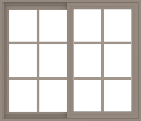WDMA 42x36 (41.5 x 35.5 inch) Vinyl uPVC Brown Slide Window without Grids Interior