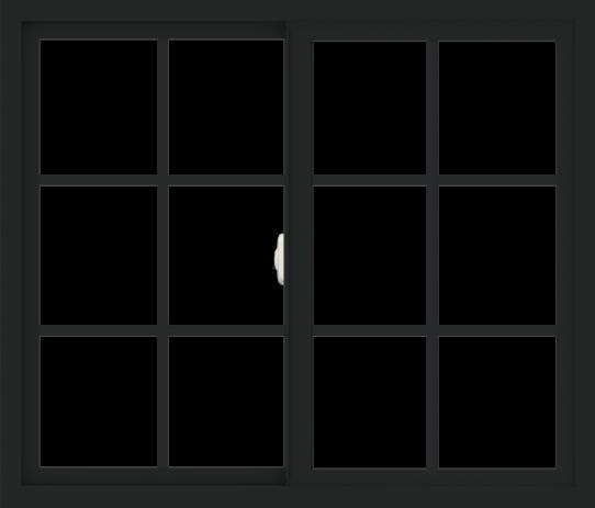 WDMA 42x36 (41.5 x 35.5 inch) Vinyl uPVC Black Slide Window with Colonial Grids Exterior