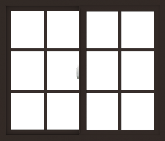 WDMA 42x36 (41.5 x 35.5 inch) Vinyl uPVC Dark Brown Slide Window with Colonial Grids Exterior