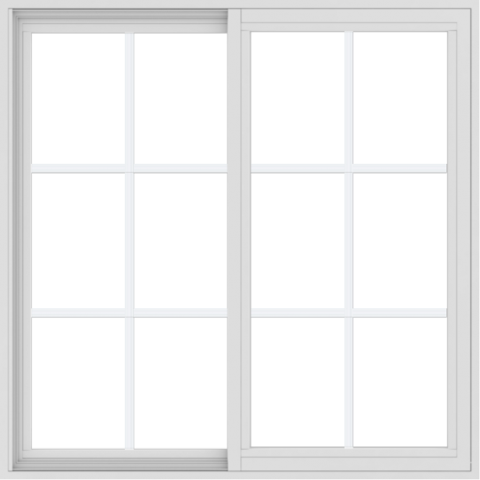 WDMA 42x42 (41.5 x 41.5 inch) Vinyl uPVC White Slide Window with Colonial Grids Exterior