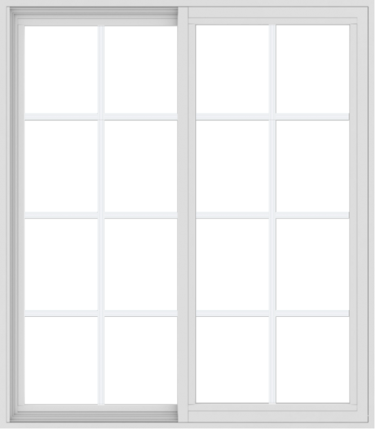 WDMA 42x48 (41.5 x 47.5 inch) Vinyl uPVC White Slide Window with Colonial Grids Exterior