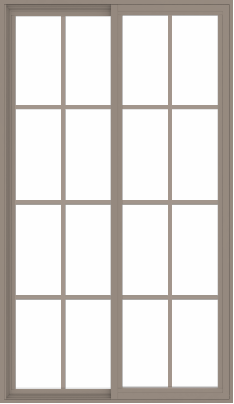 WDMA 42x72 (41.5 x 71.5 inch) Vinyl uPVC Brown Slide Window with Colonial Grids Exterior