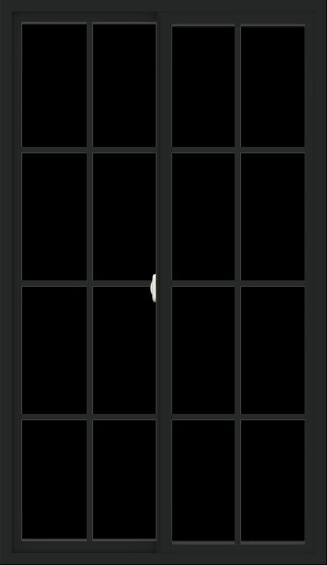 WDMA 42x72 (41.5 x 71.5 inch) Vinyl uPVC Black Slide Window with Colonial Grids Exterior