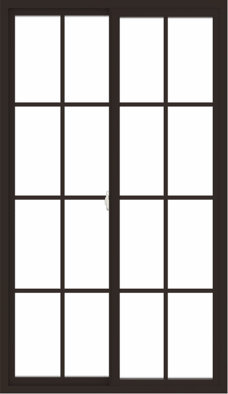 WDMA 42x72 (41.5 x 71.5 inch) Vinyl uPVC Dark Brown Slide Window with Colonial Grids Exterior