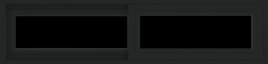 WDMA 48x12 (47.5 x 11.5 inch) Vinyl uPVC Black Slide Window without Grids Exterior