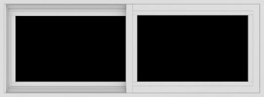 WDMA 48x18 (47.5 x 17.5 inch) Vinyl uPVC White Slide Window without Grids Exterior