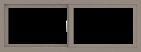 WDMA 48x18 (47.5 x 17.5 inch) Vinyl uPVC Brown Slide Window without Grids Interior