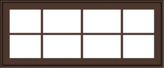 WDMA 48x20 (47.5 x 19.5 inch) Oak Wood Dark Brown Bronze Aluminum Crank out Awning Window with Colonial Grids Exterior