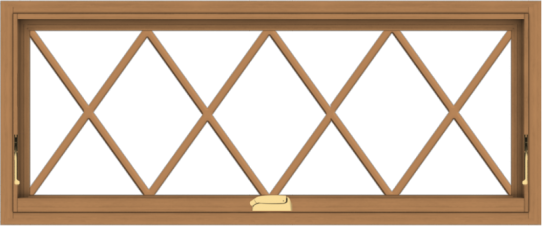 WDMA 48x20 (47.5 x 19.5 inch) Oak Wood Dark Brown Bronze Aluminum Crank out Awning Window without Grids with Victorian Grills