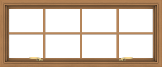WDMA 48x20 (47.5 x 19.5 inch) Oak Wood Green Aluminum Push out Awning Window with Colonial Grids Interior