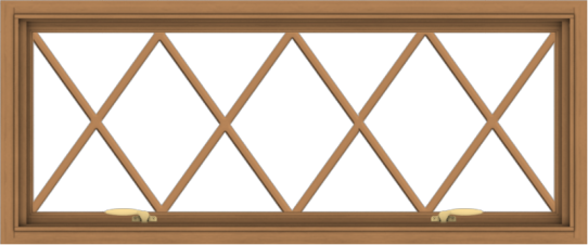 WDMA 48x20 (47.5 x 19.5 inch) Oak Wood Green Aluminum Push out Awning Window without Grids with Victorian Grills