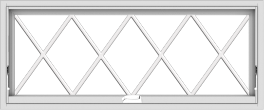 WDMA 48x20 (47.5 x 19.5 inch) White Vinyl uPVC Crank out Awning Window without Grids with Victorian Grills