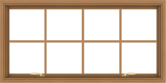 WDMA 48x24 (47.5 x 23.5 inch) Oak Wood Green Aluminum Push out Awning Window with Colonial Grids Interior