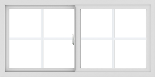 WDMA 48x24 (47.5 x 23.5 inch) Vinyl uPVC White Slide Window with Colonial Grids Exterior
