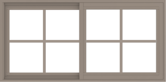 WDMA 48x24 (47.5 x 23.5 inch) Vinyl uPVC Brown Slide Window with Colonial Grids Exterior