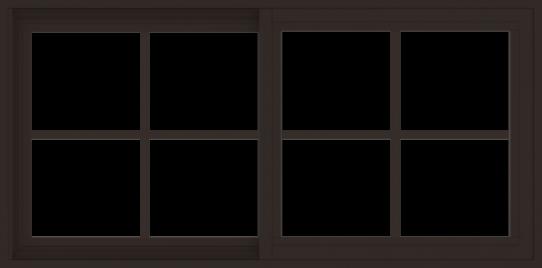 WDMA 48x24 (47.5 x 23.5 inch) Vinyl uPVC Dark Brown Slide Window with Colonial Grids Exterior