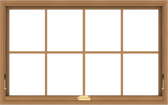 WDMA 48x30 (47.5 x 29.5 inch) Oak Wood Dark Brown Bronze Aluminum Crank out Awning Window with Colonial Grids Interior