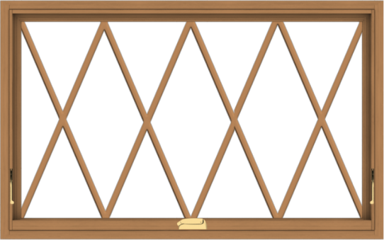 WDMA 48x30 (47.5 x 29.5 inch) Oak Wood Dark Brown Bronze Aluminum Crank out Awning Window without Grids with Victorian Grills