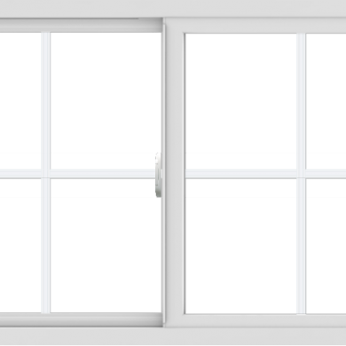 WDMA 48x30 (47.5 x 29.5 inch) Vinyl uPVC White Slide Window with Colonial Grids Exterior