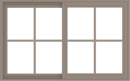 WDMA 48x30 (47.5 x 29.5 inch) Vinyl uPVC Brown Slide Window with Colonial Grids Exterior