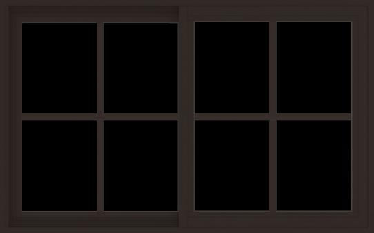 WDMA 48x30 (47.5 x 29.5 inch) Vinyl uPVC Dark Brown Slide Window with Colonial Grids Exterior